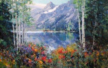цветы, арт, озеро, горы, лес, пейзаж, березы, живопись, eric wallis