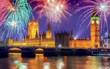london, england, fireworks, big ben, westminster
