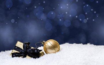 снег, новый год, подарки, шар, рождество