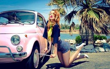 девушка, блондинка, модель, ножки, губы, каблуки, макияж, автомобиль, шорты