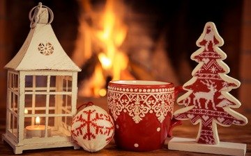 new year, tree, fire, lantern, mug, fireplace, christmas
