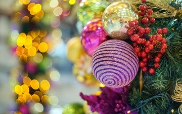 new year, tree, balls, decoration, toys, berries, christmas, christmas decorations, bokeh