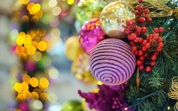 новый год, елка, шары, украшения, игрушки, ягоды, рождество, елочные игрушки, боке