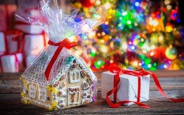новый год, подарок, рождество, пряничный домик