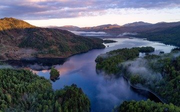 lake, river, mountains, hills, nature, forest, landscape, scotland, national park, the grampian mountains, loch katrine