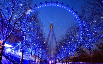 winter, london, ferris wheel, england, garland, london eye