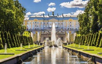 brunnen, russland, palast, st. petersburg, peterhof