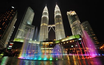 ночь, огни, город, башни, малайзия, куала-лумпур