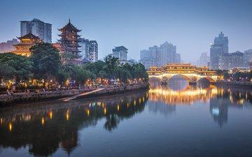 ночь, огни, мост, город, китай, ченду