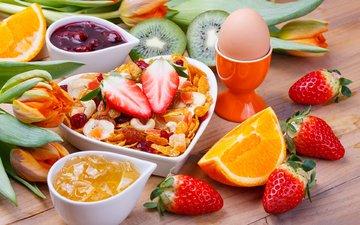 фрукты, ягоды, завтрак, яйцо, мюсли