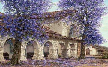 art, figure, trees, landscape, house, spring, jacaranda
