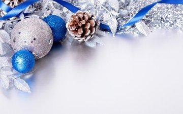 новый год, шары, шишка, рождество, елочные украшения, мишура