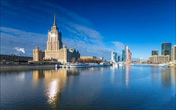 the sky, river, moscow, the city, russia, hotel ukraine