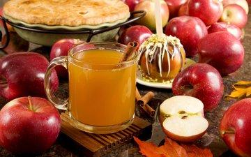 leaves, drink, cinnamon, fruit, apples, mug, cider, apple cider