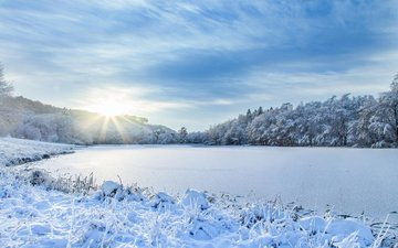 the sky, river, snow, nature, winter, landscape, frost