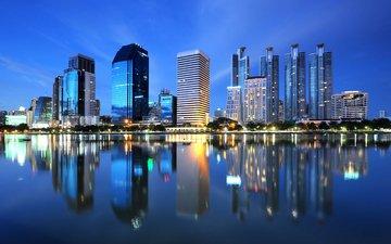 ночь, огни, отражение, город, таиланд, бангкок