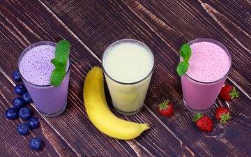 mint, fruit, strawberry, berries, cocktail, drinks, blueberries, banana, juice, milkshake, wooden surface