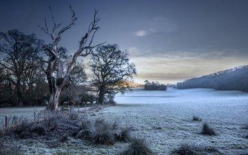 небо, снег, природа, зима, пейзаж