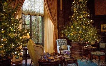новый год, комната, елки, окно, рождество, рожество