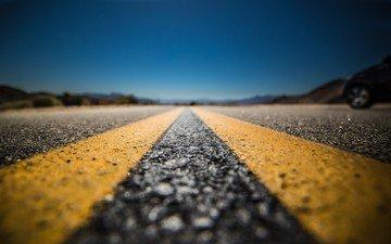 полосы, небо, дорога, пейзаж, горизонт, трасса