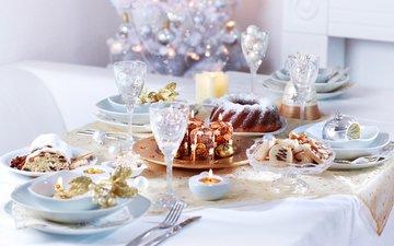 свечи, новый год, украшения, стол, чашка, праздник, рождество, печенье, торт, ужин, закуски, декор, блюда