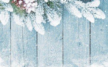снег, хвоя, зима, макро, ветки, ель, шишка, деревянная поверхность