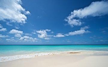 the sky, clouds, landscape, sea, beach, resort
