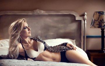 girl, blonde, lamp, model, bed, underwear, blouse, maarten quaadvliet