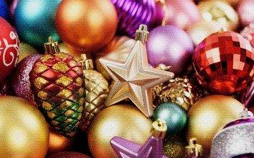 новый год, шары, звезды, рождество, шишки, елочные игрушки