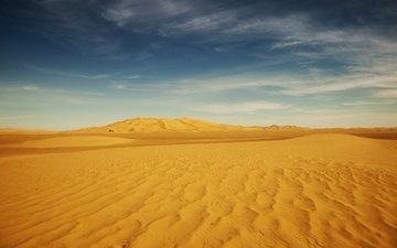 небо, облака, пейзаж, песок, пустыня