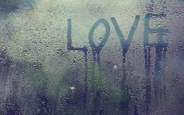 drops, letters, rain, glass, love