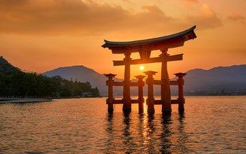 горы, закат, пейзаж, море, ворота, япония, elia locardi