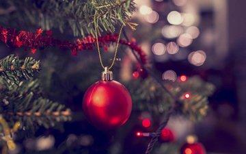 новый год, елка, шар, рождество, гирлянда