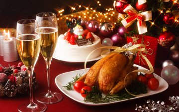 new year, balls, wine, glasses, christmas, champagne, cake, tomatoes, chicken, dinner, serving