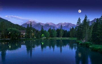 вечер, озеро, горы, природа, лес
