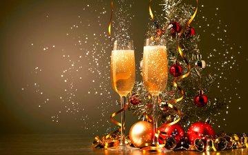 новый год, елка, бокалы, рождество, елочные игрушки, шампанское, декор, sergey a.khakimulli