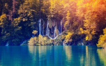 trees, nature, forest, landscape, autumn, waterfalls, plitvice lakes, plitvice