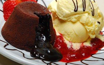 ice cream, strawberry, berries, chocolate, dessert, cake, chocolate lava