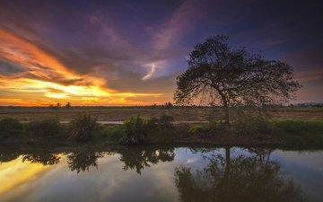 river, nature, sunset, landscape, znan ismail