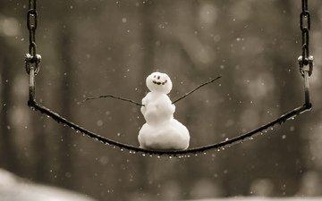 снег, зима, снеговик, качели