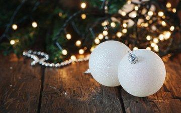 новый год, елка, шары, рождество, гирлянда, деревянная поверхность