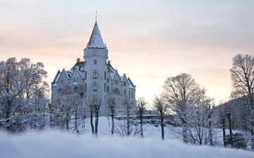 зима, парк, замок, норвегии, берген