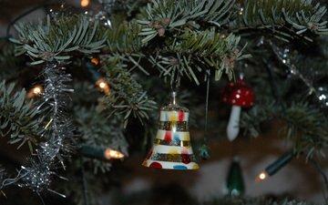 новый год, елка, украшения, рождество, гирлянда, мишура