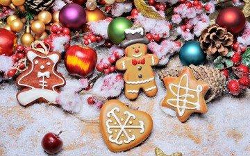 снег, новый год, украшения, игрушки, ягоды, праздник, рождество, шишки, елочные игрушки, печенье, пряники