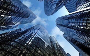 небо, город, небоскребы, мегаполис, высотки