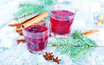 snow, new year, drink, cinnamon, christmas, star anise, mulled wine