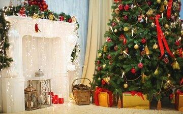 новый год, елка, подарки, камин, рождество
