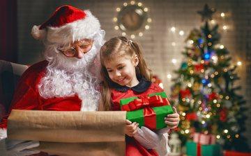 новый год, елка, подарки, девочка, дед мороз, рождество