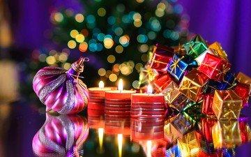 свечи, новый год, подарки, рождество, елочные игрушки