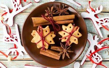 new year, cinnamon, deer, christmas, cookies, cakes, star anise